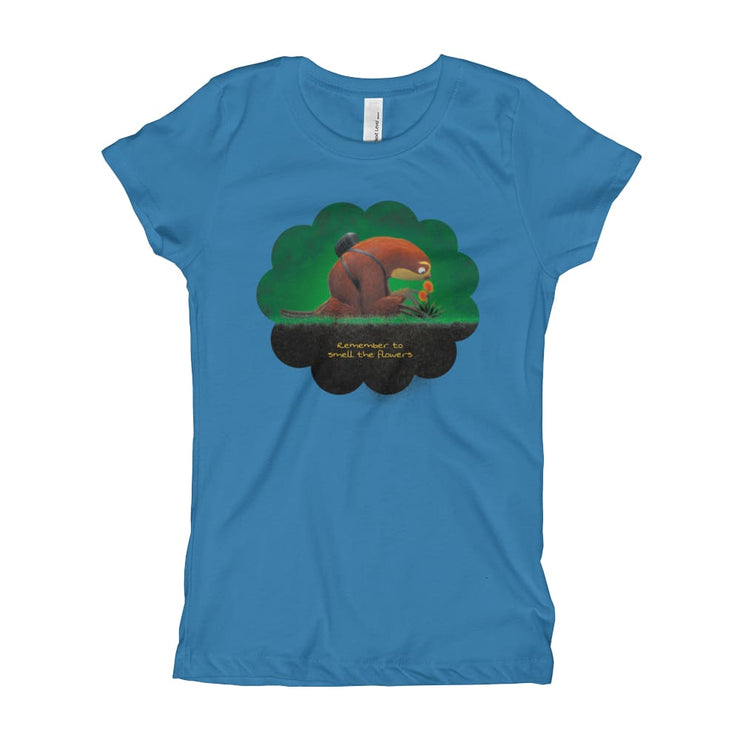 Girls Slim Fit T-Shirt - Ages 7-15 - Smell the flowers Turquoise / XS