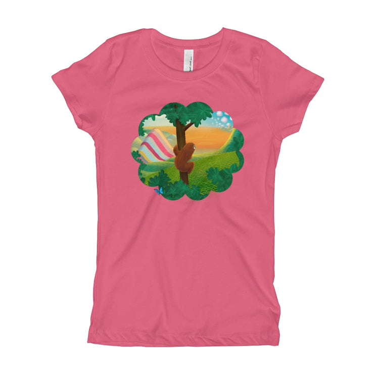 Girls Slim Fit T-Shirt - Ages 7-15 - Window to the World Hot Pink / XS