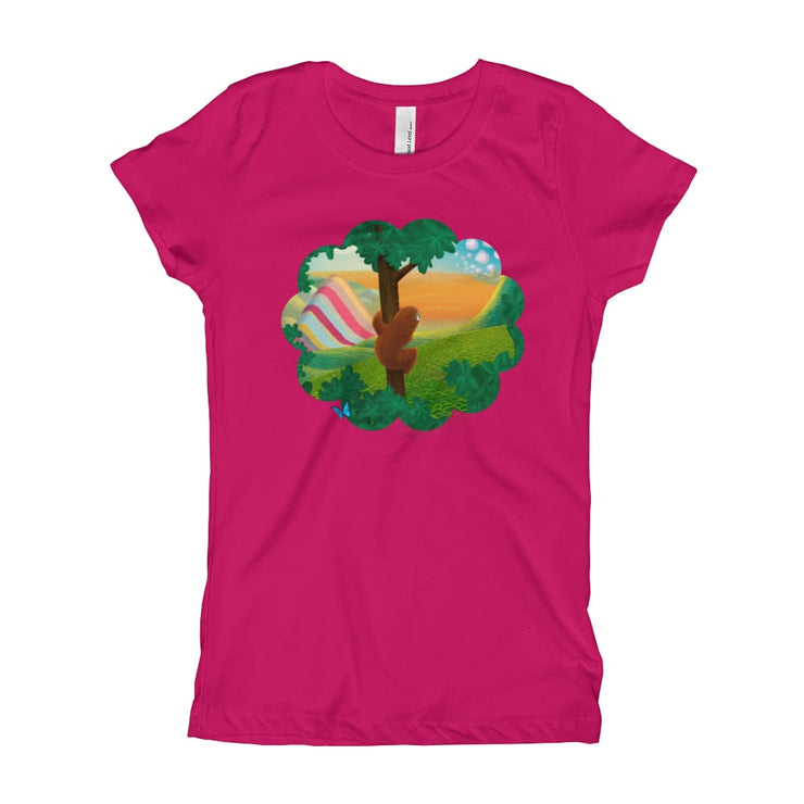 Girls Slim Fit T-Shirt - Ages 7-15 - Window to the World Raspberry / XS