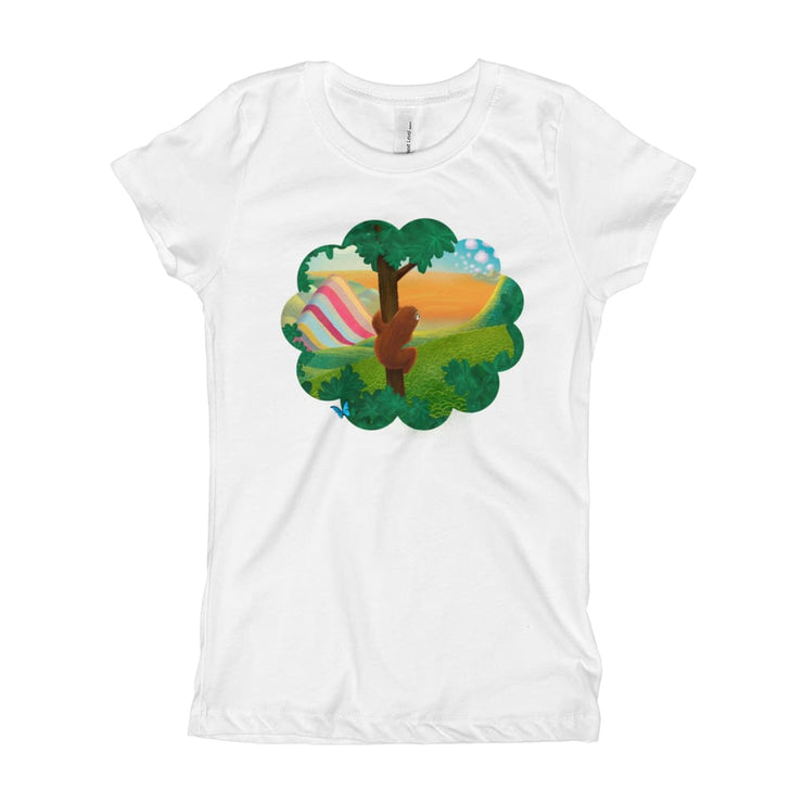 Girls Slim Fit T-Shirt - Ages 7-15 - Window to the World White / XS