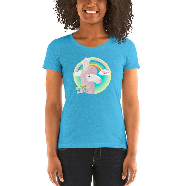 Mums Short-Sleeve Form Fitting T-Shirt - Hello Lovely Aqua Triblend / S