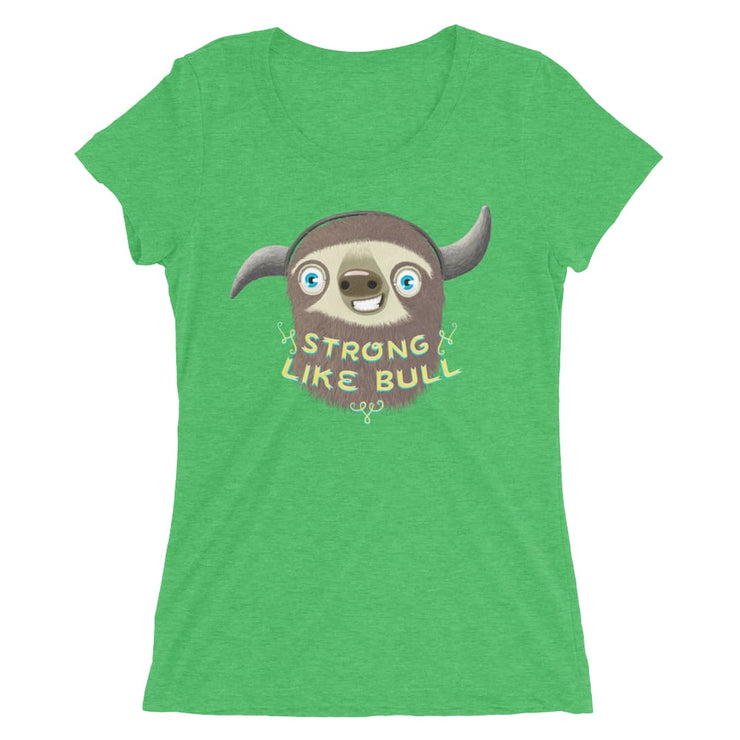 Mums Short-Sleeve Form Fitting T-Shirt - Stroll Like Bull Green Triblend / S