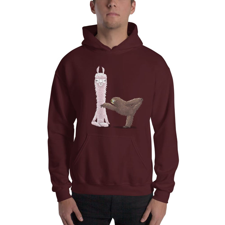 Warm Double-lined Hoodie - Yoga Llama and Sloth Maroon / S