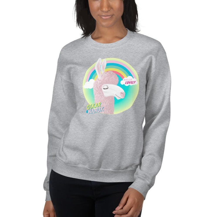 Womens Sweatshirt - Hello Lovely Llama Sport Grey / S