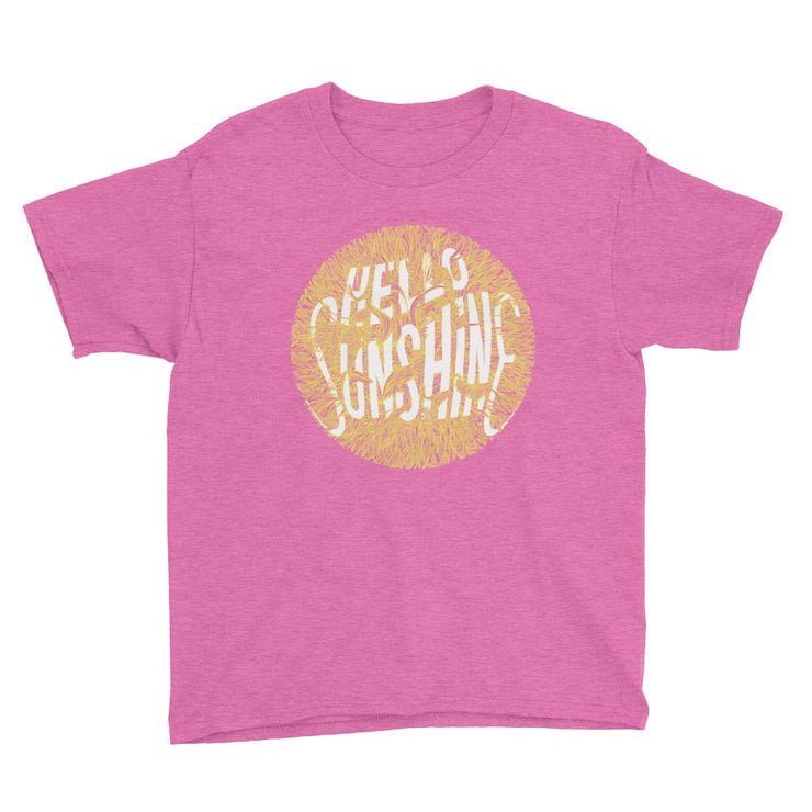 Youth Short Sleeve T-Shirt - Hello Sunshine Heather Hot Pink / XS