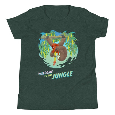 Youth Short Sleeve T-Shirt - Welcome to the Jungle Heather Forest / S