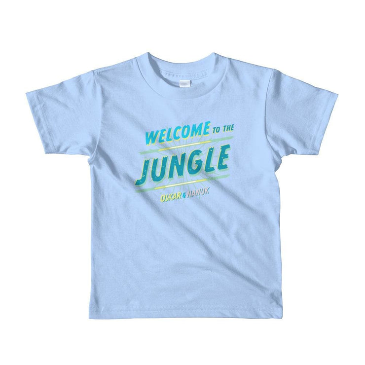 Youth Short Sleeve T-Shirt - Welcome to the Jungle - text Baby Blue / 2yrs