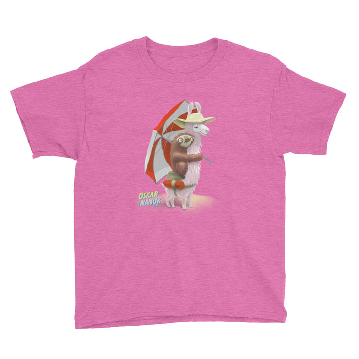 Youth Unisex Short Sleeve T-Shirt - Beach Pals Heather Hot Pink / XS