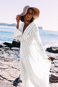 Hollow Out V Neck Beach Long Cover Up