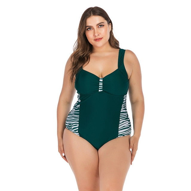 Zebra Print Plus Size One Piece Swimsuit