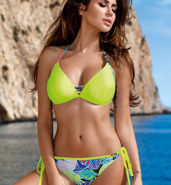 Triangle Side Knot Push Up Bikini