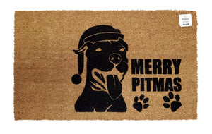 Merry Pitmas with paw prints