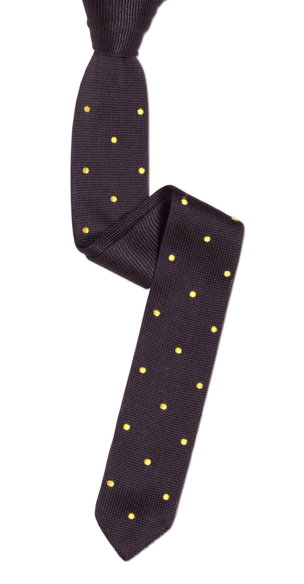 Pointed-Tip Grey Skinny Knit Tie with Yellow Pin Dots | Soxfords