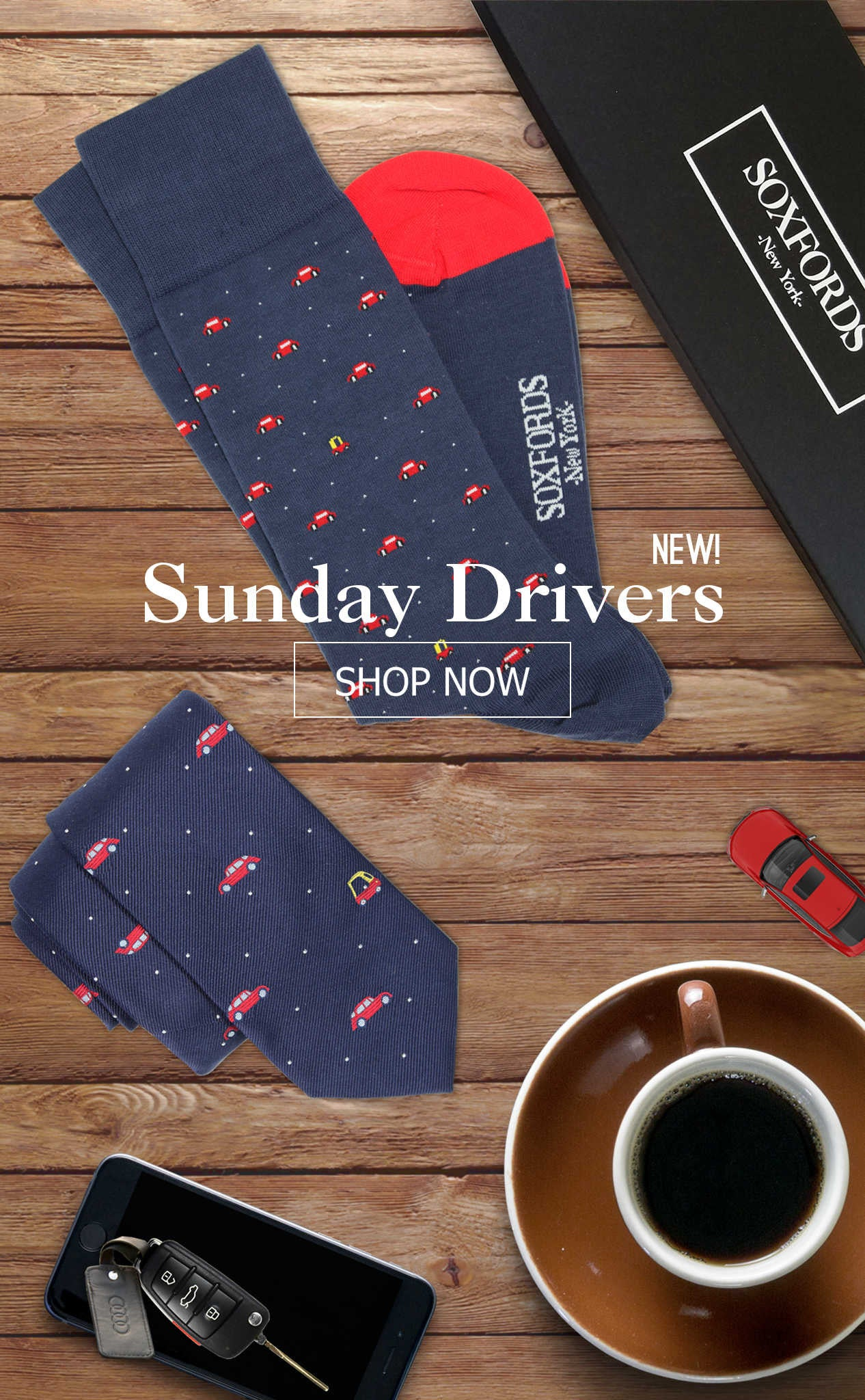 Soxfords Original Cars Patterned Socks and Tie