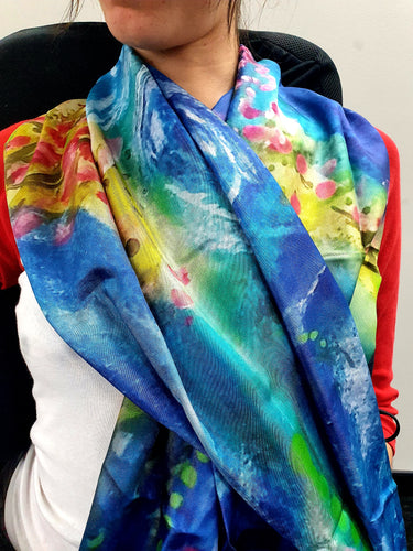 Blue Rose Scarf