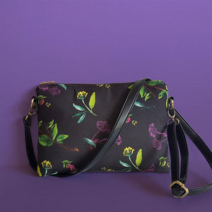 Black Floral Cross Body Bag