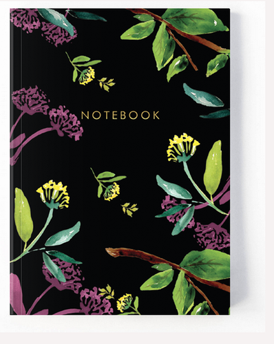 Black Floral Notebooks