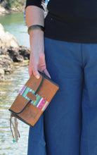 Load image into Gallery viewer, Buffalo Leather and Woven Cotton Clutch Wallet