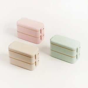Eco-Friendly Bamboo Fibre Layered Lunchbox with Culterly