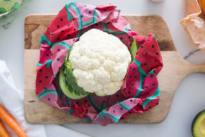 Watermelon Wax WRAPPA being used to cover cauliflower