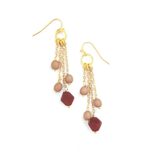 Burgundy and Fawn Skyline Earrings