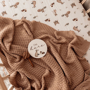 Hazelnut I Diamond Knit Baby Blanket