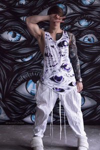 Long Singularity Tank-Top (White&Violet)