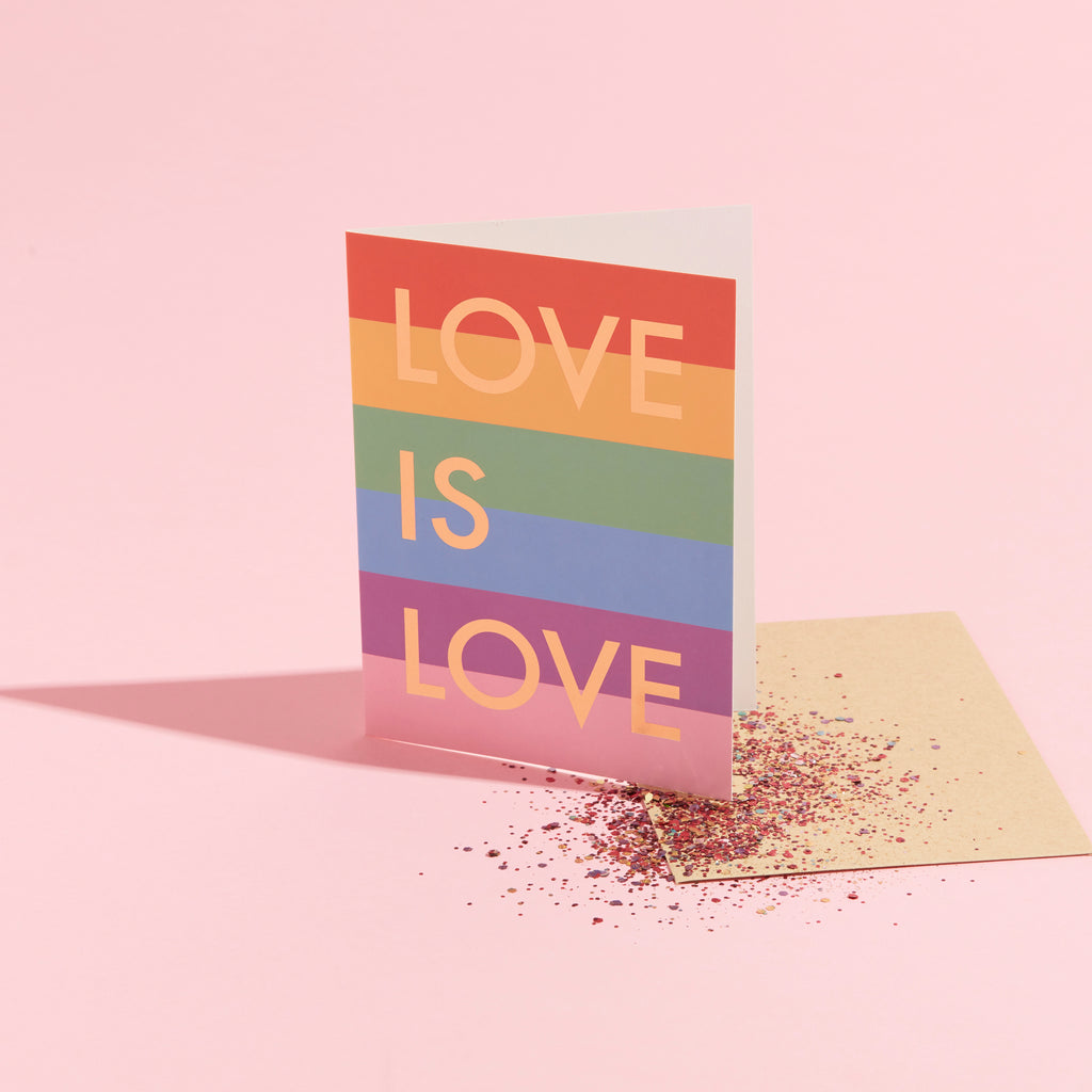 LOVE IS LOVE ECO GLITTER GREETINGS CARD