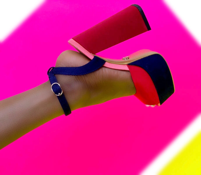 sybg red color block chuncky platform shoes