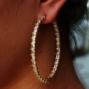 Vertical Baguette Hoops
