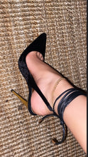 Load image into Gallery viewer, SybG black crushed velvet pointy toe pumps with gold heel and wrap around ankle strings