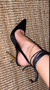 SybG black crushed velvet pointy toe pumps with gold heel and wrap around ankle strings