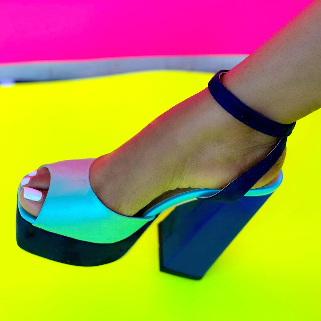 sybg blue color block chuncky platform shoes
