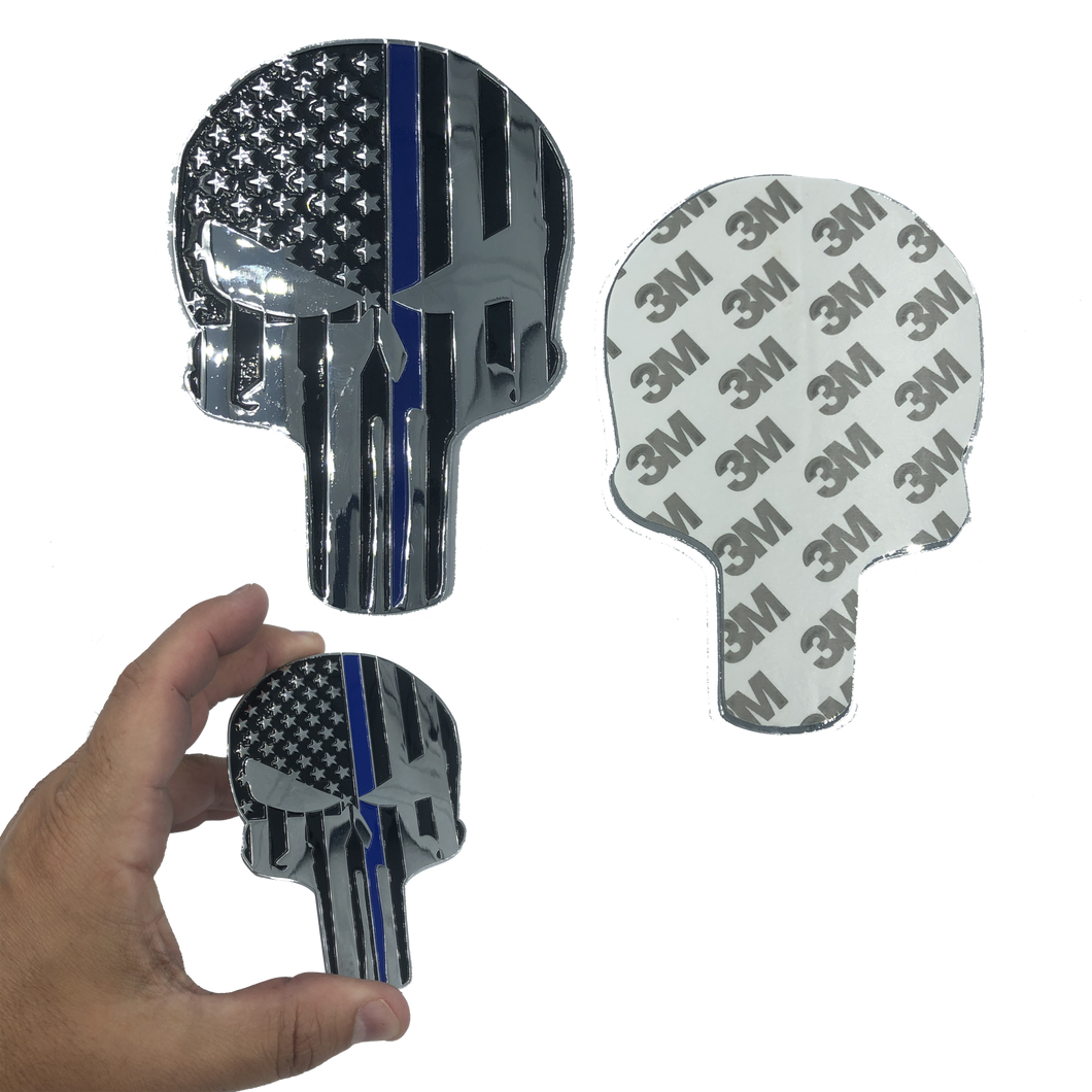 SK-028 Thin Blue Line American Flag Skull 4 inch chrome Car Vehicle Emblem with genuine 3M