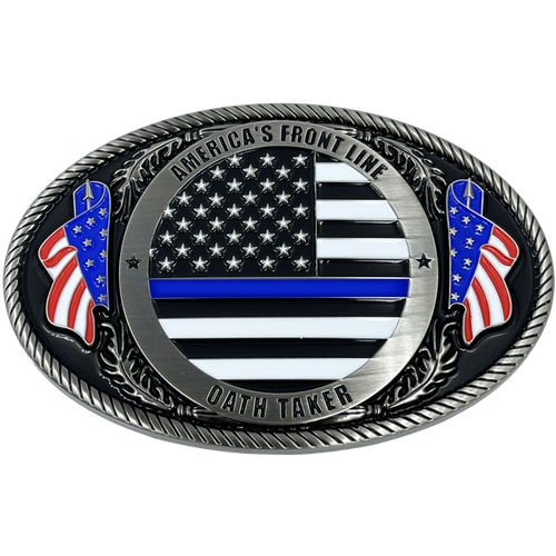 RARE Deadpool inspired thin blue line American Flag Police CHALLENGE COIN