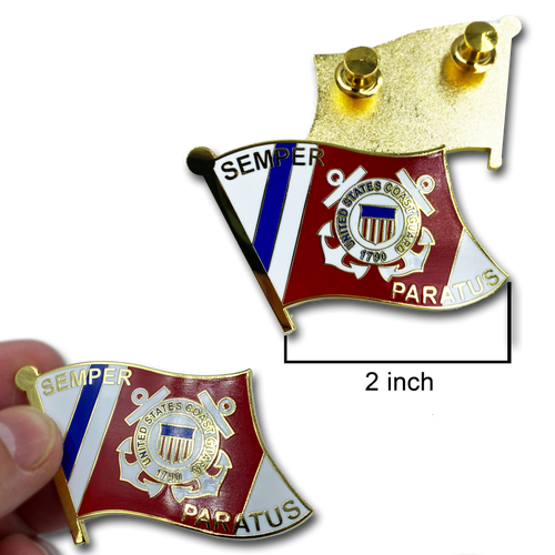 Large cloisonné Coastie Seal Flag Lapel Pin with 2 pin posts and deluxe clasps, USCG Coast Guard SEMPER PARATUS CC-011