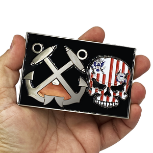 Huge 4 inch Coast Guard Flag Bottle Opener Challenge Coin Coastie Boatswain's Mate Anchor G-020