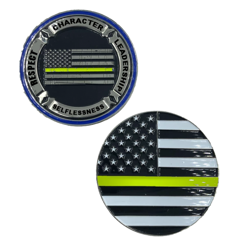 911 Dispatcher REMEMBER Thin Gold Line yellow line challenge coin
