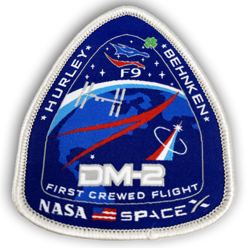 SpaceX Nasa DM-2 First Crewed Flight Mission Patch rare version with Shamrock F9 EL2-011