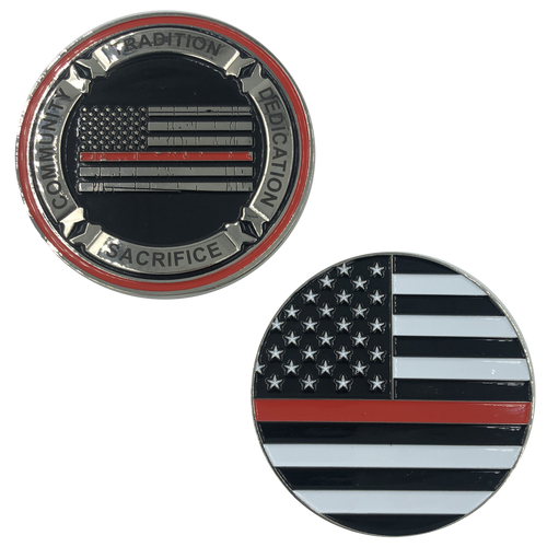 I-015 Thin Red Line Fire Fighter Core Values Challenge Coin Police Firefighter Department