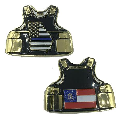 Georgia LEO Thin Blue Line State Body Armor Police Challenge Coin D-009