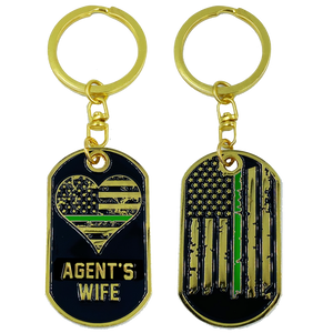 Agent's Wife Thin Green Line American Flag Challenge Coin Keychain Border Patrol BP CBP AA-007