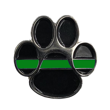Load image into Gallery viewer, K9 Paw Thin Green Line Canine Lapel Pin Police Deputy Sheriff Border Patrol Military Army Marines CL6-011