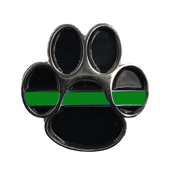 K9 Paw Thin Green Line Canine Lapel Pin Police Deputy Sheriff Border Patrol Military Army Marines CL6-011