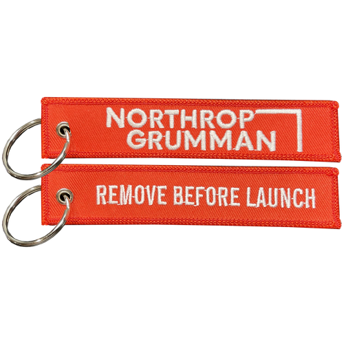 Northrop Grumman REMOVE BEFORE LAUNCH Keychain or Luggage Tag or zipper pull SpaceX Nasa Space Force BL6-013