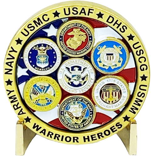 Military Warrior Heroes Challenge Coin Navy Air Force Marine Corps. Army Coast Guard Homeland Merchant Marines Veteran DL3-08