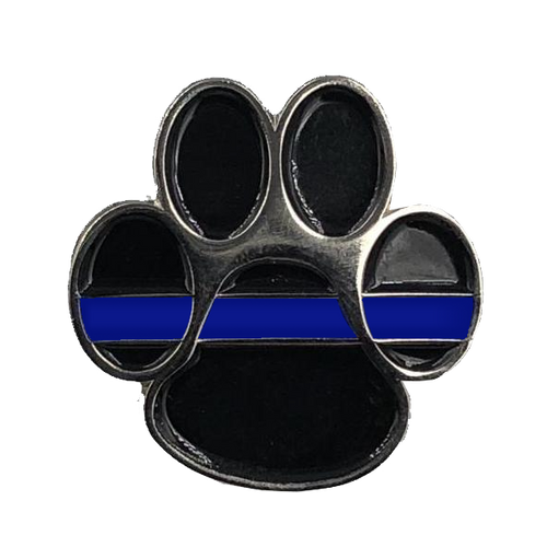 K9 Paw Thin Blue Line Canine Lapel Pin CL5-003