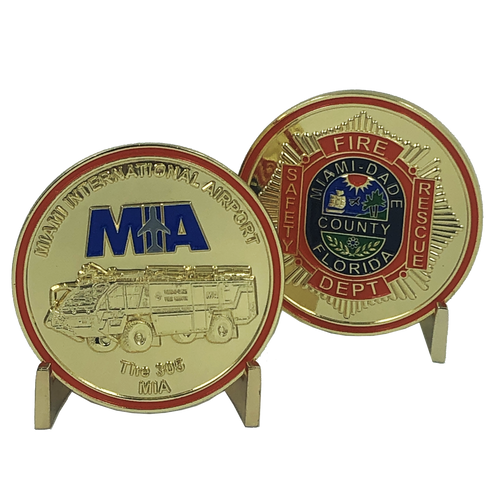 MIAMI DADE County FIRE RESCUE MIA International Airport CHALLENGE COIN department I-014
