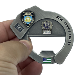 NYPD Officer Sergeant Detective Handcuff Bottle Opener Challenge Coin BL9-019
