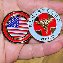 Load image into Gallery viewer, Registered Hero Challenge Coin for Nurses, Doctors, Paramedic, EMT, BSN, RN CL-JJ